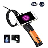 WiFi Borescope, Depstech WiFi Handheld Endoscope Camera Rigid Wire Waterproof 8.5mm Diameter Inspection Camera with 2.0 Megapixels Camera for iPhone,iPad,Android Tablets and Smartphones--9.84 ft(3M)