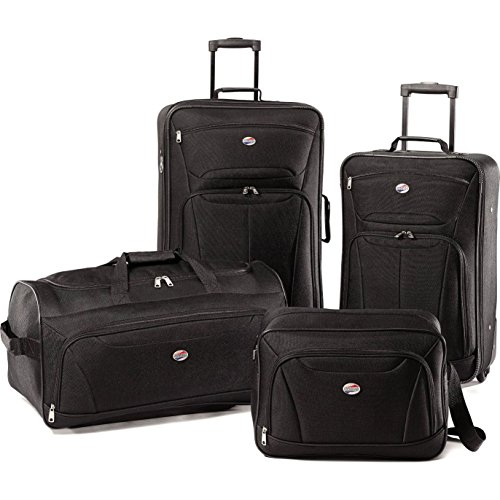 4 Piece Luggage Black Tote Upright (Clear Garment Bags 16x25 compare prices)