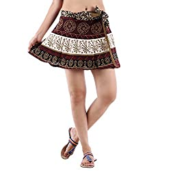 Fashiana Women's Cotton Mini Wrap Around Skirt
