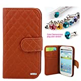 CocoZ® Samsung Galaxy S3 colorful mesh leather case PU leather wallet magnet There are card slot design ,for Samsung GalaxyS3/i9300/Galaxy SIII (Brown)