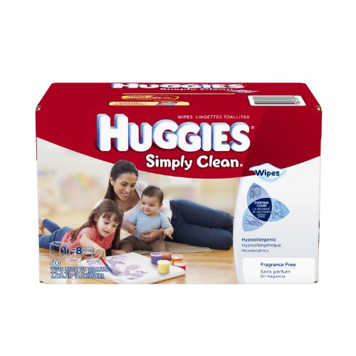 Huggies Simply Clean Fragrance Free Baby Wipes Refill, 600 Count - 1