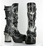 Metropolis Womens SPAWN Buckle and Chains Punk Skull Calf Boots