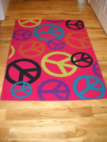 Order Girls Bedroom Decor Large Peace Sign Room Rug Hot Pink Teen ...