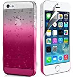 Zonewire® APPLE IPHONE 5 5S PINK RAINDROP CRYSTAL HARD BACK CASE COVER + SCREEN PROTECTOR & CLEANING CLOTH