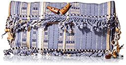 \'ale by alessandra Women\'s Cambrai Nagas Tribe Woven Clutch, Dusty Blue, One Size