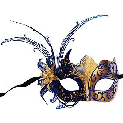 Venetian Luxury Style Unique Metal Filigree Blue Masquerade Mask (Feathered Masquerade Mask)