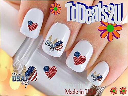 Military - Air Force Wife Heart - WaterSlide Nail Art Decals - Highest Quality! Made in USA (Air Force Top Coat compare prices)