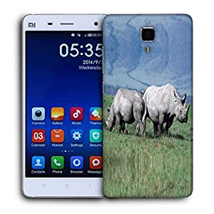 Snoogg Pair Of Rhino Printed Protective Phone Back Case Cover For Xiaomi Mi 4