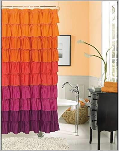 Details for Dainty Home Flamenco Ruffled Shower Curtain, 70 by 72-Inch by Dainty Home