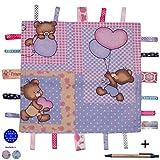 Dazoriginal Bär Schmusetuch Baby Kuscheltuch Schnuffeltücher Trösterchen Ultraweich Comfort Blanket Sicherheit Blanket Rosa Taglet