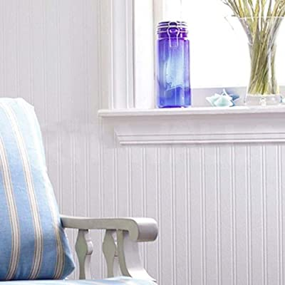 Beadboard' Striped Paintable wallpaper in White from wallpaper heaven