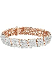"""18k Rose Gold over Sterling Silver Diamond Hearts Bracelet(1/4cttw, I-J Color, I2-I3 Clarity), 7.25"""""""