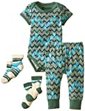 PACT Unisex-Baby Infant Organic Cotton Baby Mountain Range 2 Piece Set with Socks, Multi, 0-3 Months