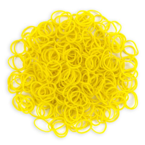WeGlow International Stretch Band Bracelet Loops and S-Clips (900 Loops and 36 S-Clips), Yellow