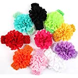"Qandsweet Baby Girl's Headbands Chiffon Hair Flower (10pcs with 1.5"" Band)"