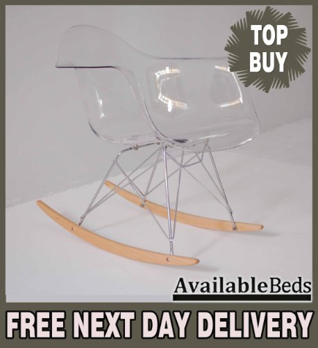 TRANSPARENT EAMES STYLE RAR EIFFEL DINING OFFICE ROCKING CHAIR STEEL CHROMED LEG -SINGLE-PREMIUM QUALITY - AVAILABLEBEDS