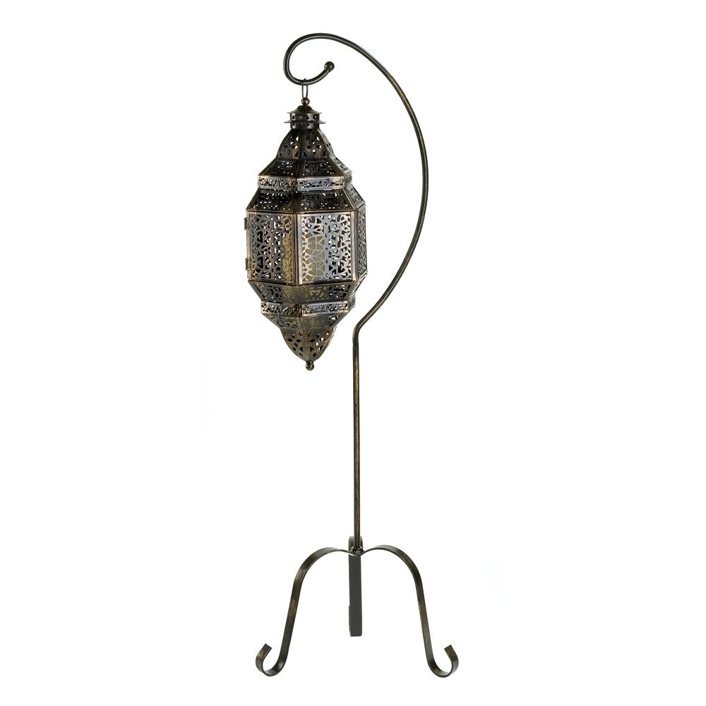 Gifts & Decor Tall Iron Moroccan Standing Metal Candle Lantern Stand