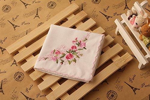 La Closure Vintage Floral Cotton Embroidered Ladies Handkerchiefs Pack 6