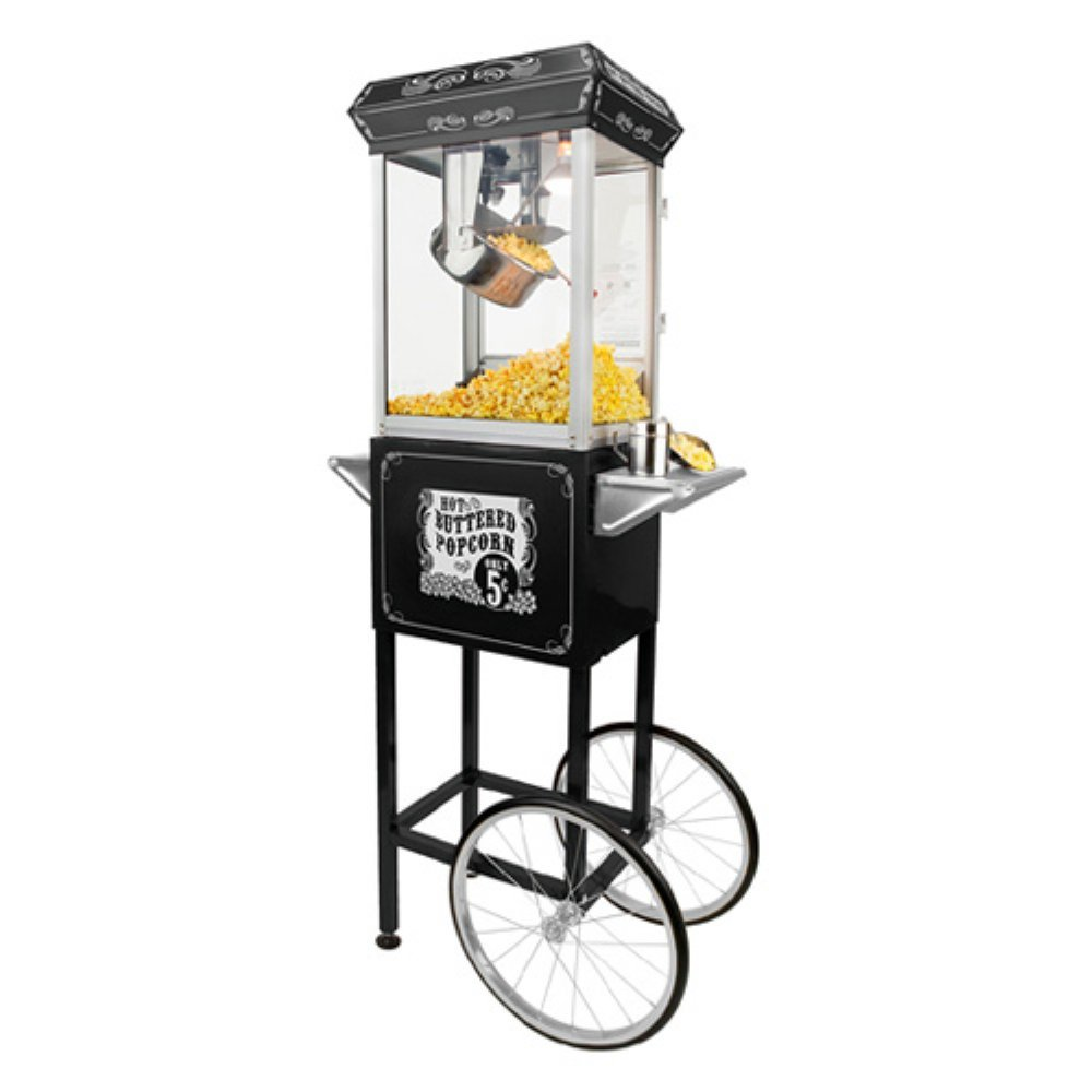 FunTime Sideshow Popper 4-Ounce Hot Oil Popcorn Machine with Cart, Black/Silver 0