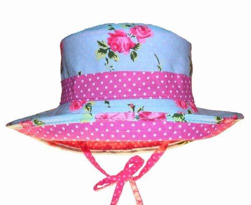 Girls Reversible Sun Hat - Aqua Floral