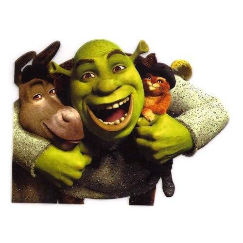 Shrek the green ogre hugging Puss in Boots the cat & Donkey in Shrek