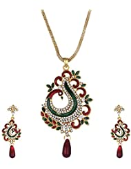 Zeneme Dancing Peacock CZ Designer Necklace Set / Jewellery Set With Chain And Earrings For Girls And Women