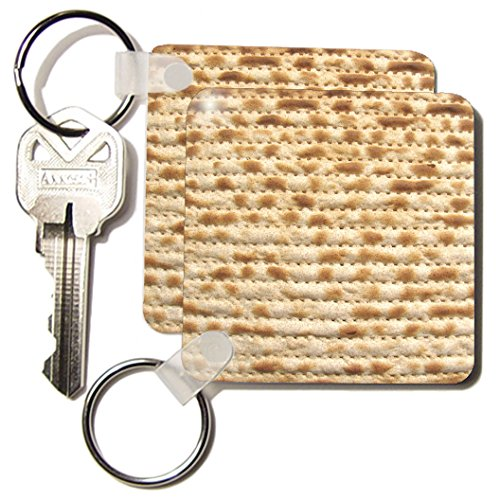 3dRose Matzah Bread Texture Photo, for Passover Pesach, Funny Jewish Humor, Humorous Matzo Judaism Food Key Chains, Set of 2 (kc_112943_1)
