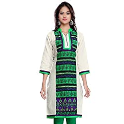 Janasya women's Green printed kurtis