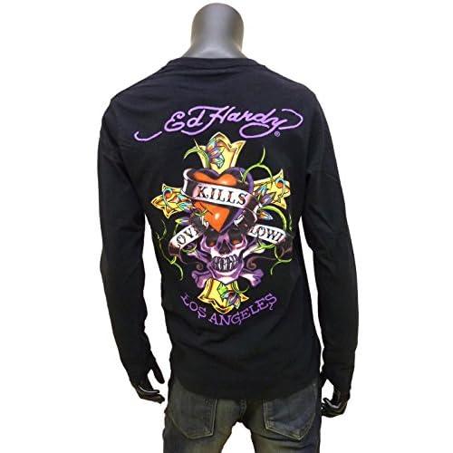 Ed Hardy(エドハーディー)タトゥープリント長袖Tシャツ[ホワイト/ブラック]53kh07 (L, ブラック)