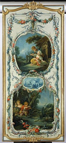 'Francois Boucher (Workshop Of) - The Arts And Sciences Fishing And Hunting, 1750-52' Oil Painting, 12x26 Inch / 30x66 Cm ,printed On Perfect Effect Canvas ,this Vivid Art Decorative Canvas Prints Is Perfectly Suitalbe For Game Room Decoration And Home Artwork And Gifts (Ninja Garden Ps3 compare prices)