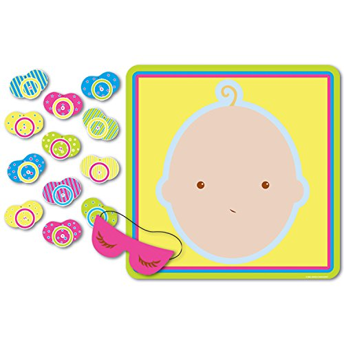 Pin The Pacifier Baby Shower Game (mask & 12