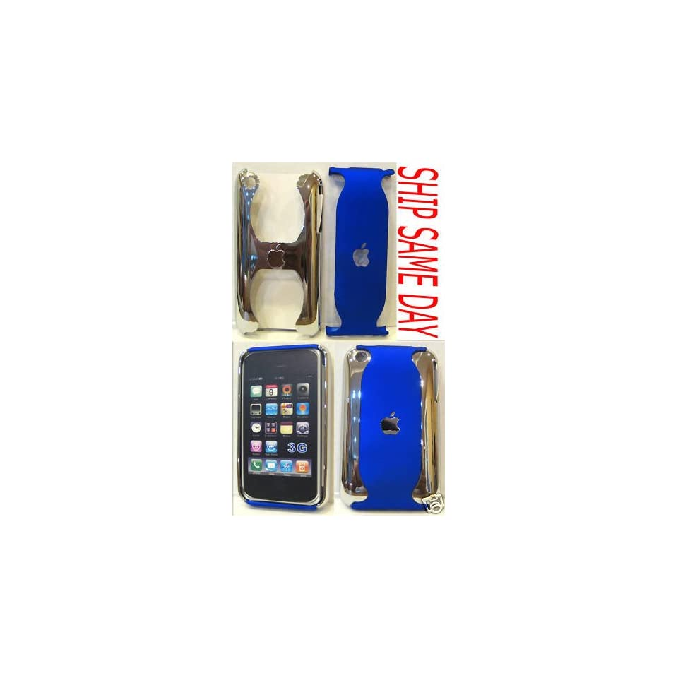 Blue Chrome Iphone Hard Case Cover Skin for 3g / 3gs