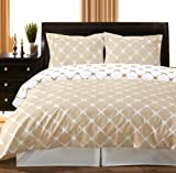 8PC Bloomingdale Beige and Ivory Full Size Bed in a Bag set Include: 3pc Duvet Cover Set + 4pc sheet Set+ 1pc Down Alternative Comforter