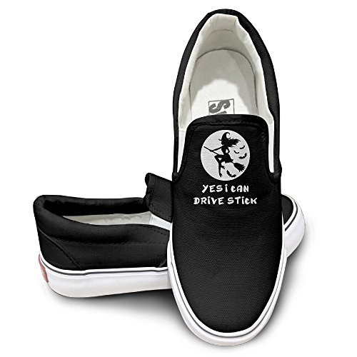 Unisex Funny Gift For Her Wife Witch Broom Yes I Can Drive Stick Canvas Shoes Sneakers (Hay Broom compare prices)