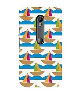 GEOMMETRICAL BOATS FLOATING IN WAVES OF WATER 3D Hard Polycarbonate Designer Back Case Cover for Motorola Moto G3 :: Motorola Moto G (3rd Gen)