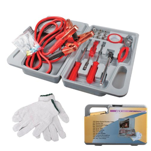 29 Pieces Emergency Roadside Car Tool Kit Jumper Drivers Cables Gloves Socket (German Hose Clamp Pliers compare prices)