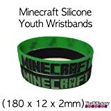 Minecraft game Creeper Silicone Youth Wristbands (1 Green & 1 Black) – SIze: Kids/Youth 180(L)x12(W)x2(D)mm
