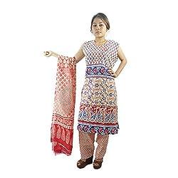 ShopMore Printed Salwar Suit(L,Red)