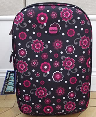 Smallest Travel Luggage suitcase Carry on Hand cabin On Wheels Black and pink Floral print small EXPANDING trolly Light Weight