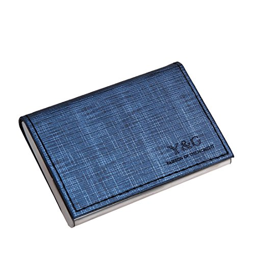 YDC05B01 Steel Blue Black Economics Design Leather Card Holder Fashion Gift Idea With Gift Box By Y&G