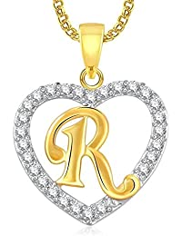 DC Gold Plated Alphabet 'R' Letter Heart Pendant Locket With Chain For Men And Women/Boys & Girls