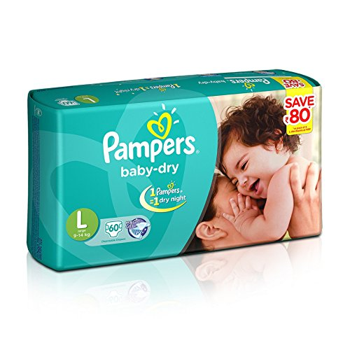 Image result for Pampers Baby Dry Large Size Diapers (60 Count) - Jumbo Pack