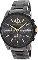 Armani Exchange Banks Black Dial Black Ion-plated Mens Watch AX2094