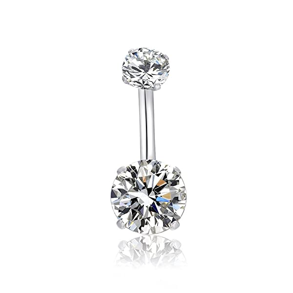 Navel Ring with CZ Stone Surgical Steel Belly Jewelry Belly Button Piercing