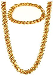 Charms Combo Of Gold Plated Bracelet & Chain For Mens & Boys