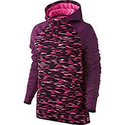 Nike women\'s Haze All Time Pullover Hoodie athletic shirt black/maroon (S)