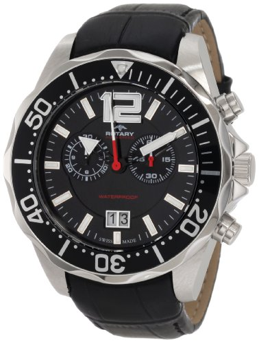 Rotary Aquaspeed Men's Quartz Watch with Black Dial Chronograph Display and Black Leather Strap AGS90050/C/04