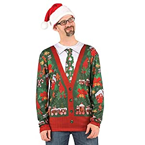 Faux Real Men's Ugly Cardigan with Tie, Multi, Medium