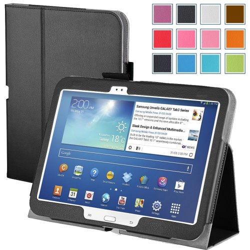 Lowest Price! Maxboost Leather Case for Samsung Galaxy Tab 3 10.1 Inch Black – Book Folio Style with Built-in Stand, Wallet Card Holder, Stylus Holder, Hand Holding Strap, Memory Card Holder