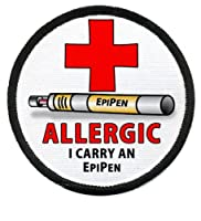 ALLERGIC EPIPEN Medical Alert Symbol 3 inch Sew-on Patch by Creative Clam
